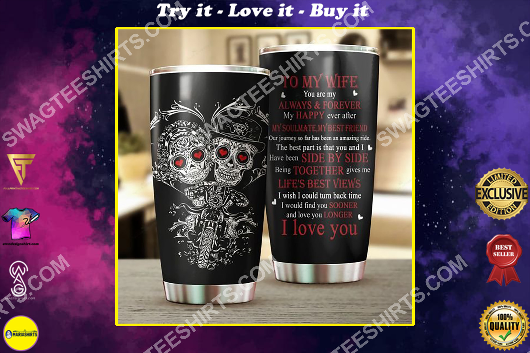couple skull to my wife i love you all over printed stainless steel tumbler