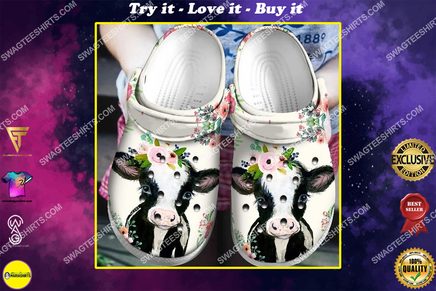 cow and flowers all over printed crocs crocband clog