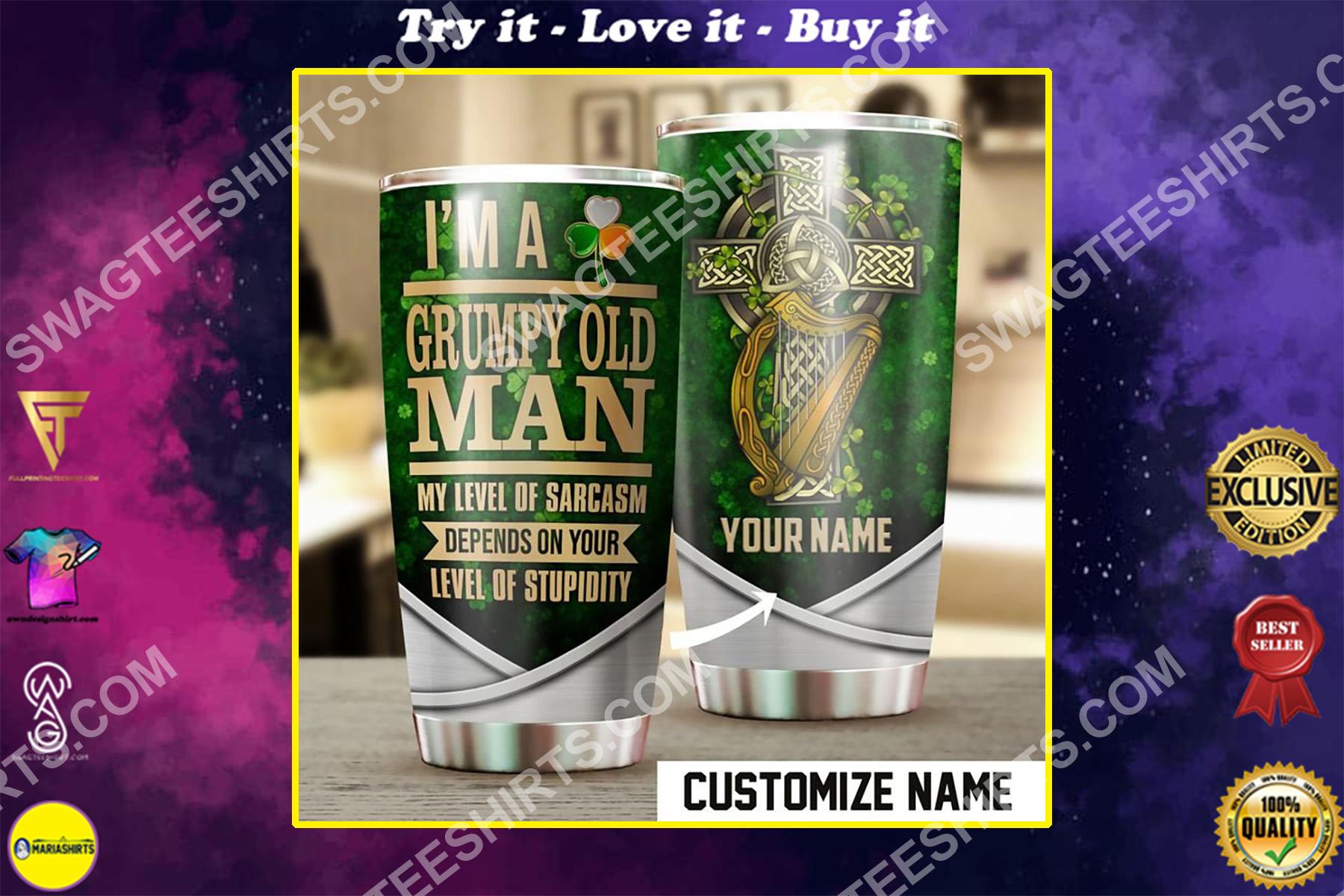 custom name celtic cross saint patricks day all over printed stainless steel tumbler