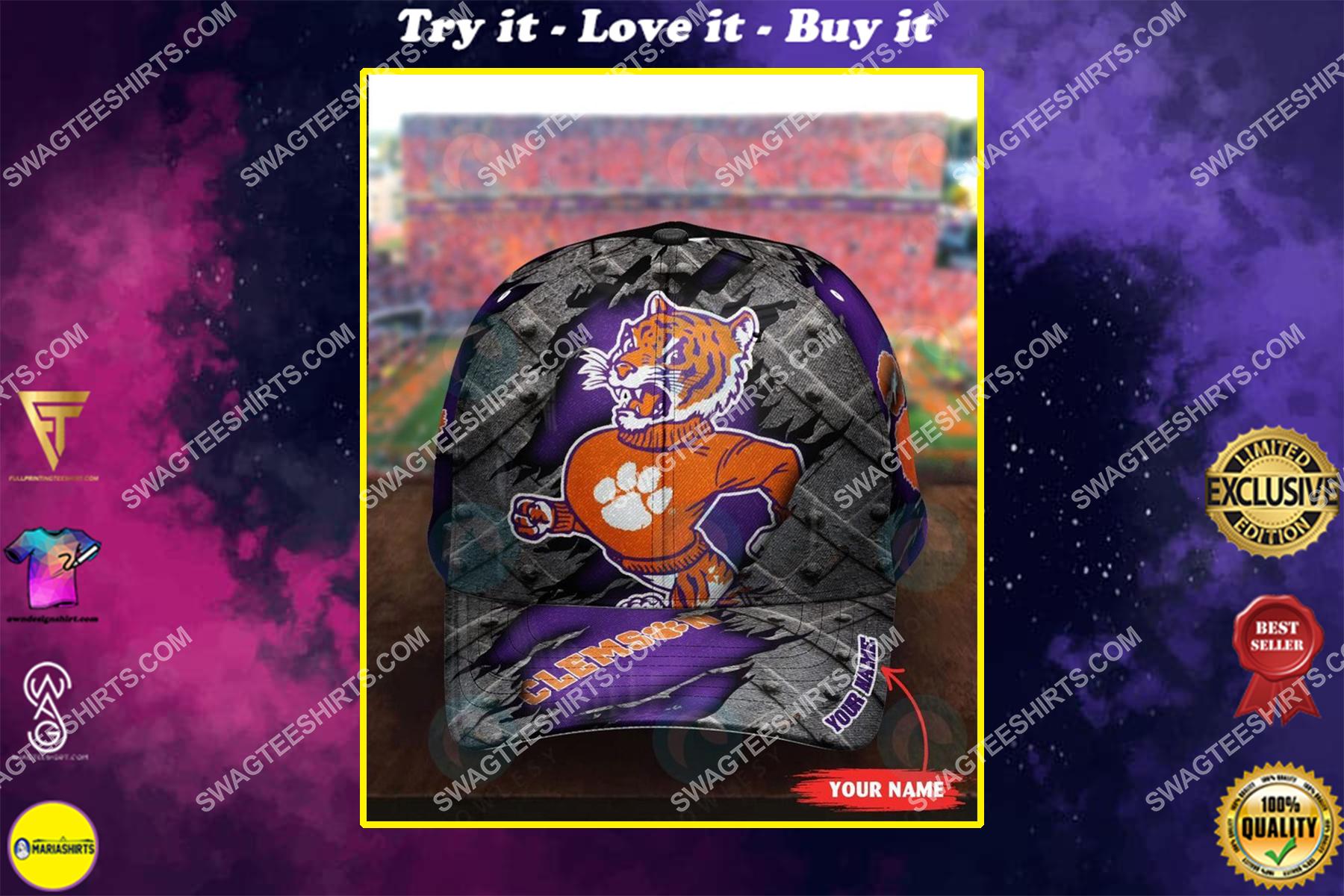 custom name clemson tigers football full printing cap