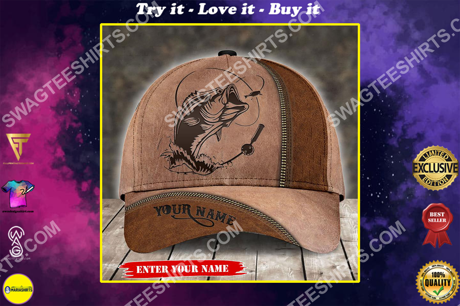 custom name fishing leather all over printed classic cap
