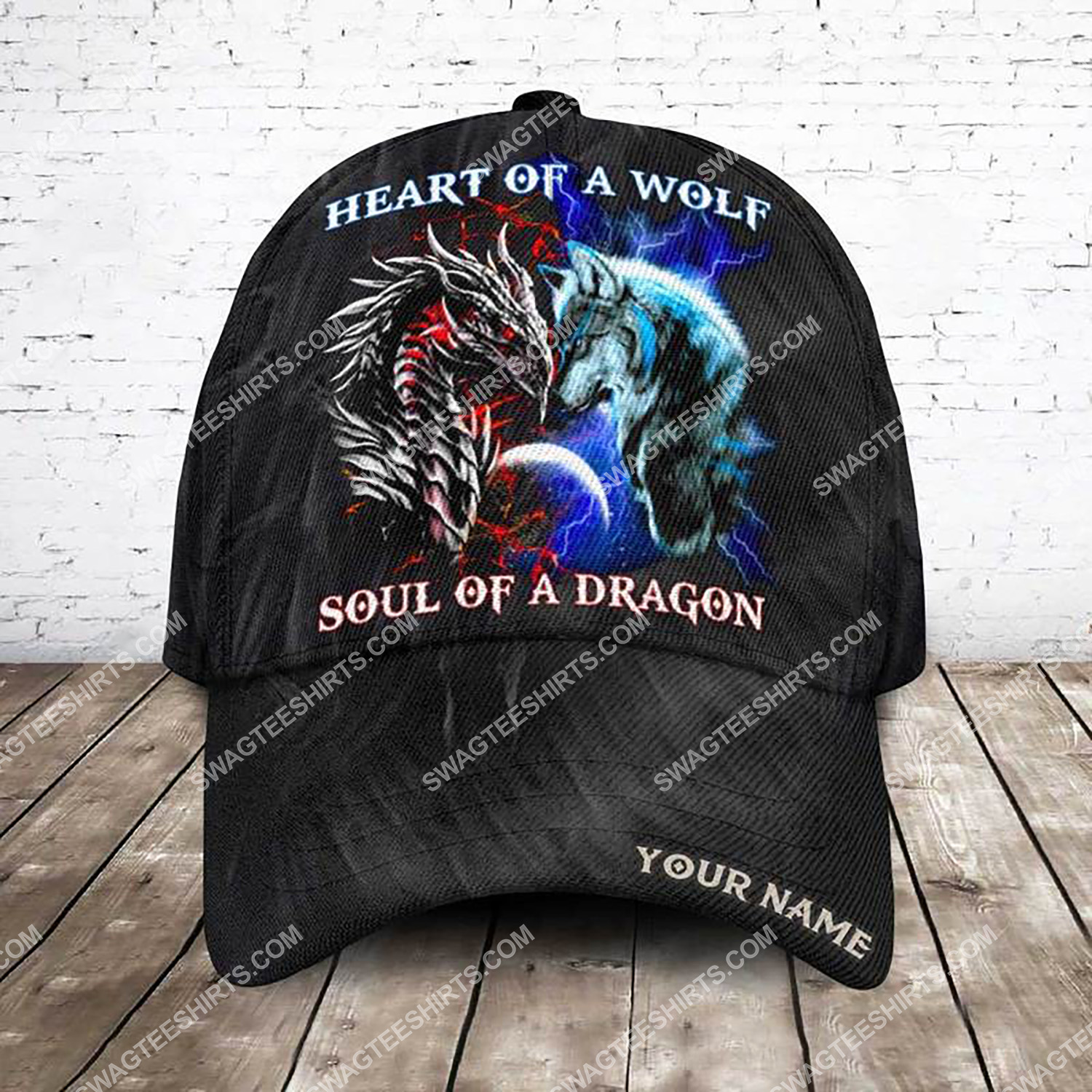 custom name heart of a wolf soul of a dragon all over printed classic cap 3