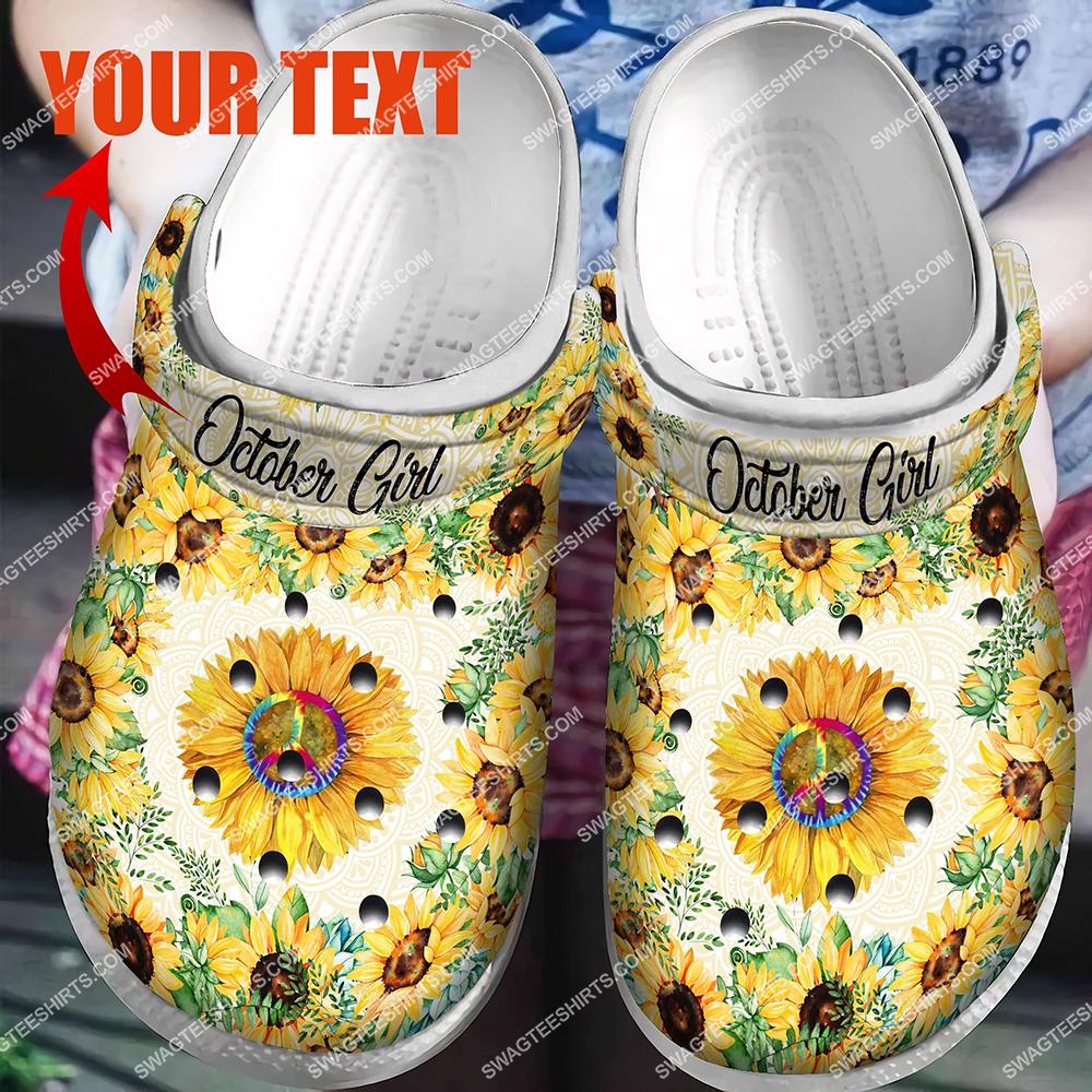 custom name hippie sunflower all over printed crocs 2