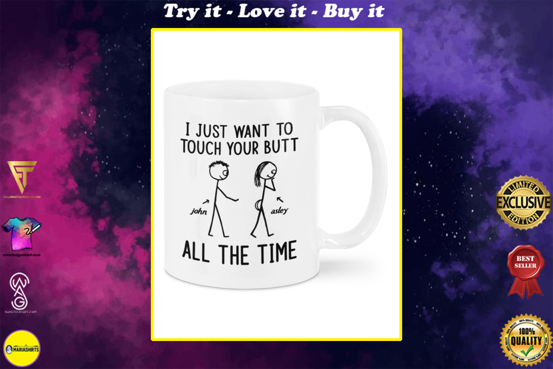 custom name i just want to touch your butt all the time for couple mug
