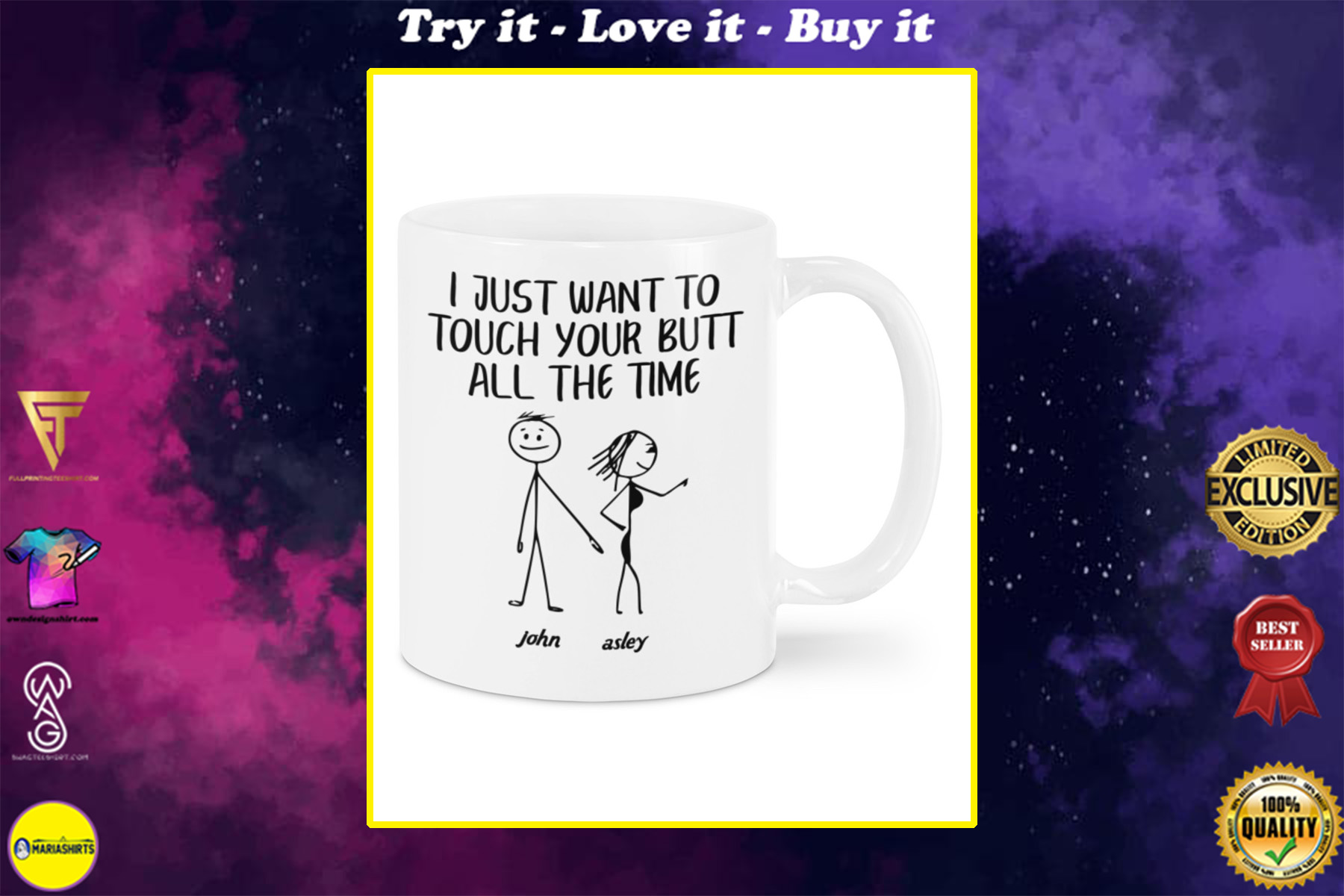 custom name i just want to touch your butt all the time mug
