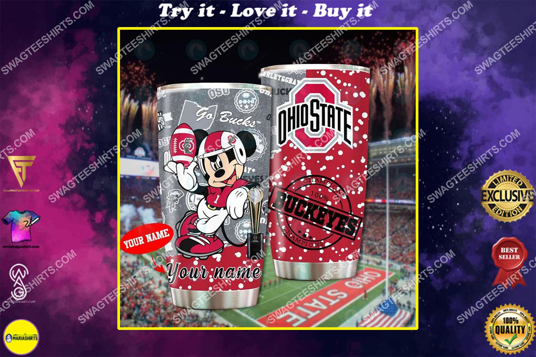 custom name mickey mouse and ohio state buckeyes full printing tumbler