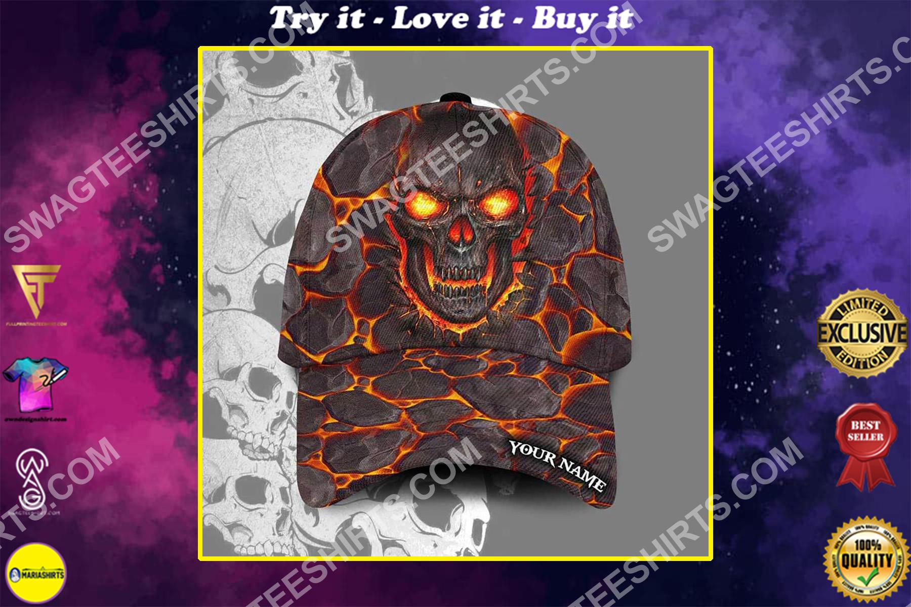 custom name the lava skull all over printed classic cap
