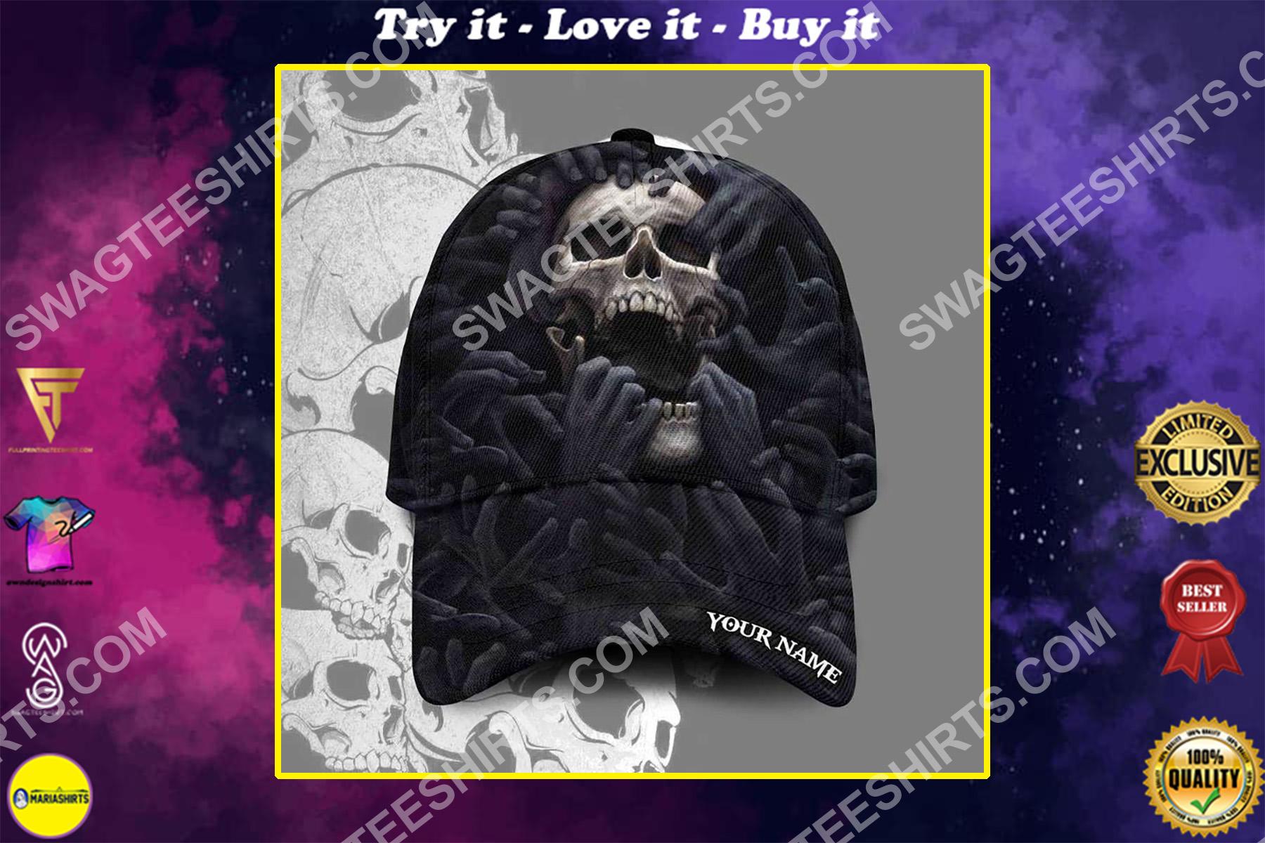 custom name the skull scream all over printed classic cap