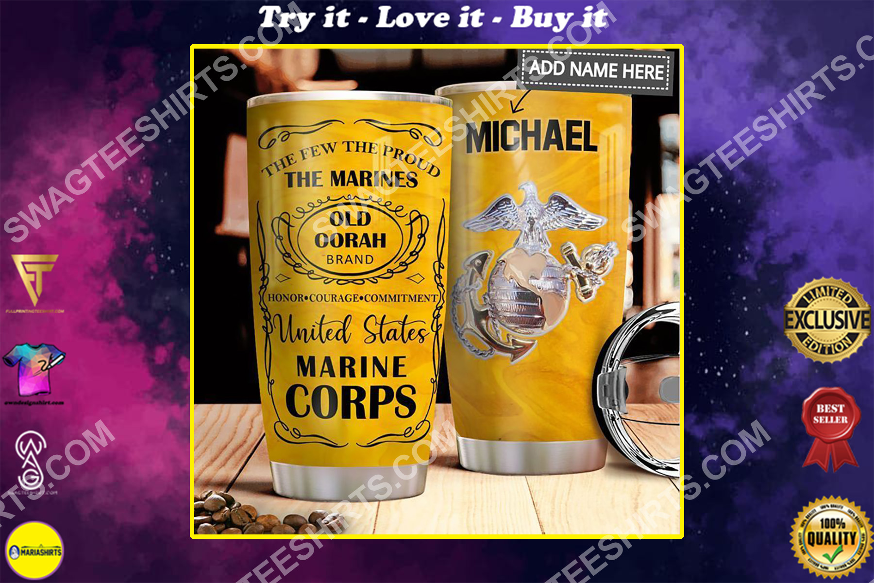 custom name the united states marine corps all over printed stainless steel tumbler