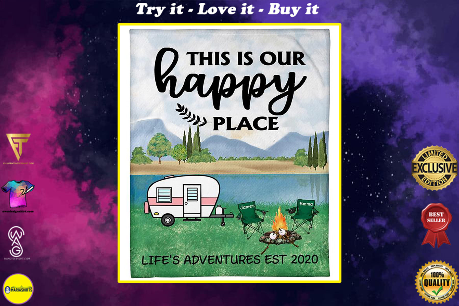 custom name this is our happy place lifes adventures camping blanket