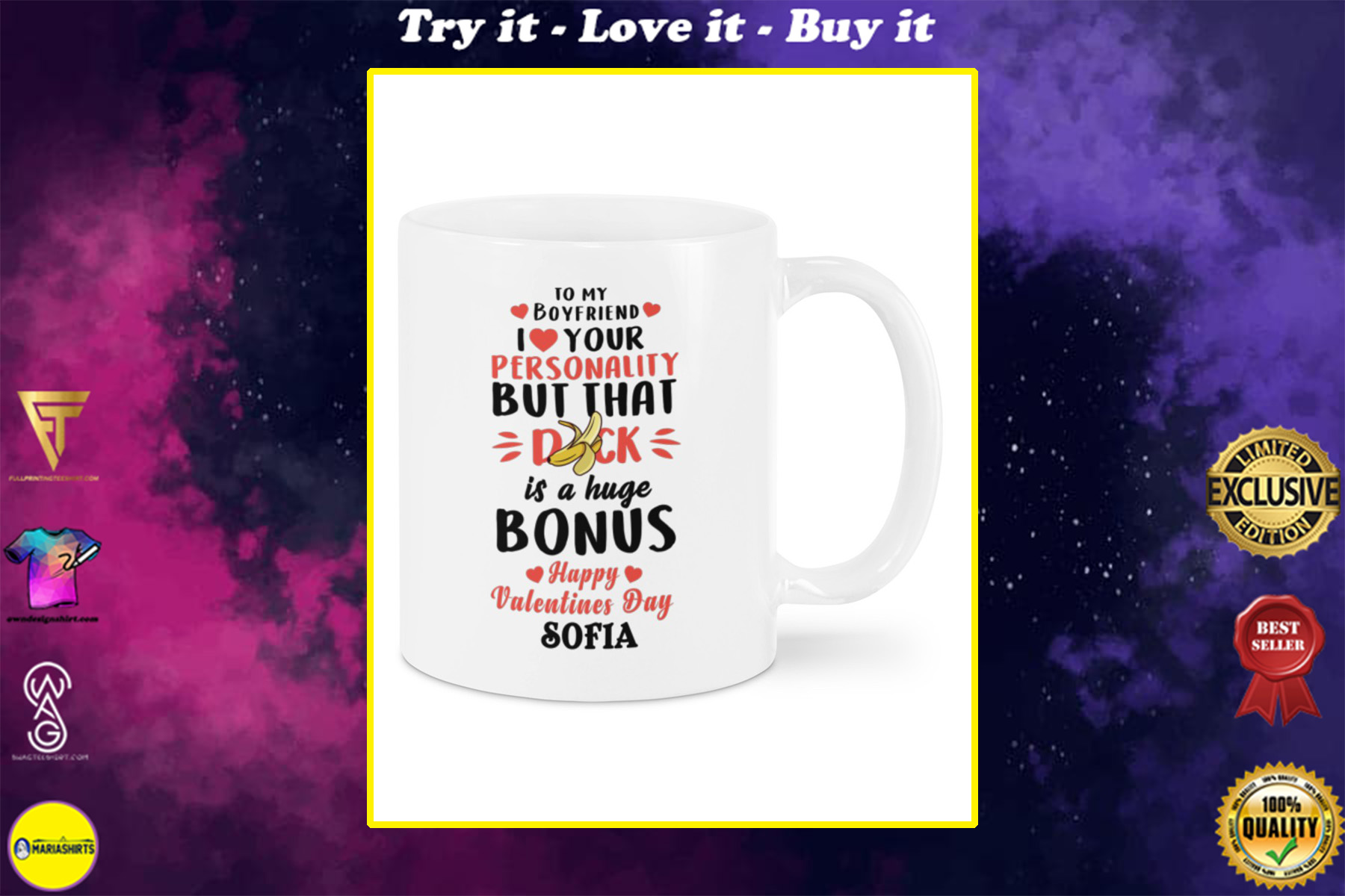 custom name to my boyfriend i love your personality but that dick is a really nice bonus happy valentine's day mug