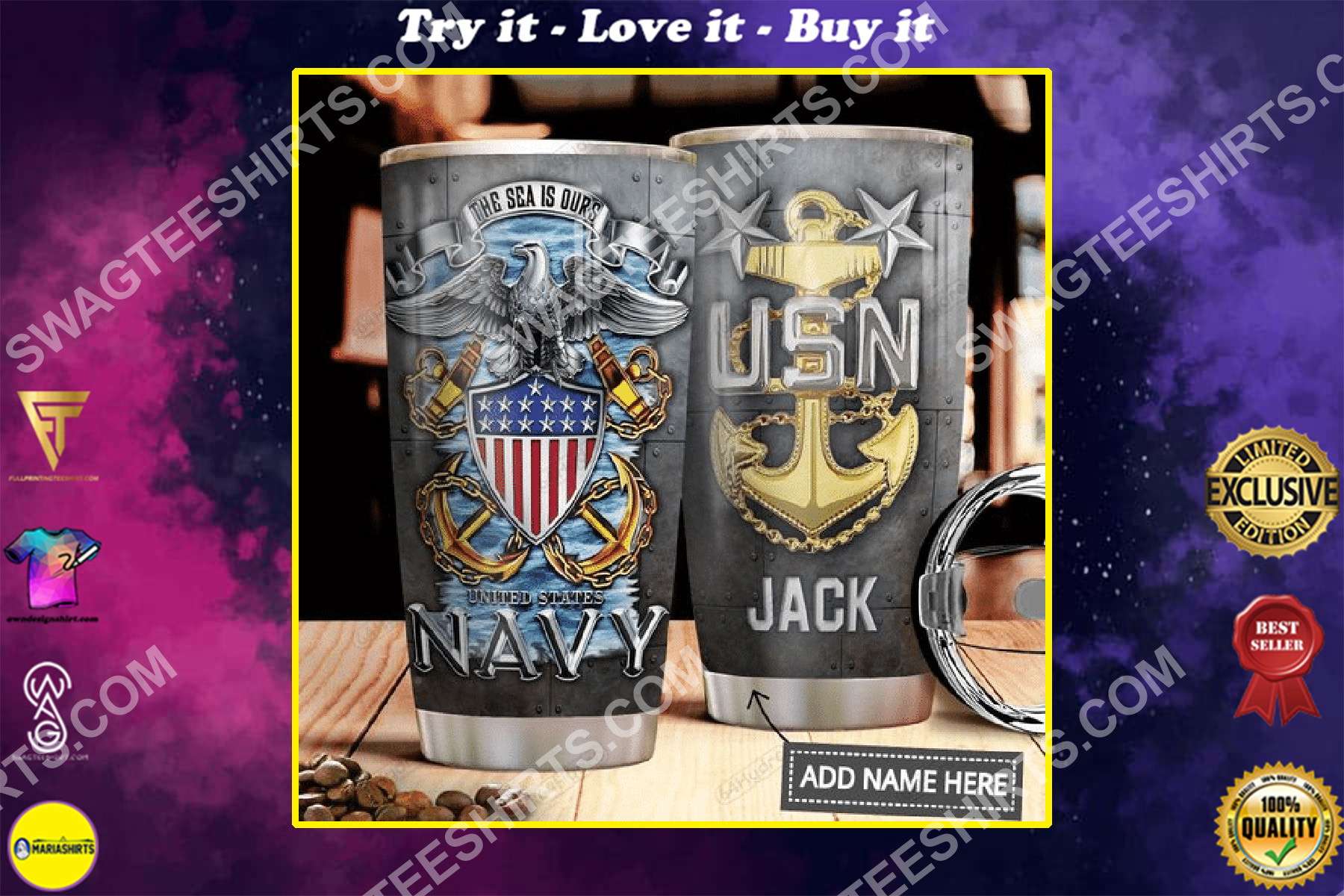 custom name united states navy all over printed stainless steel tumbler