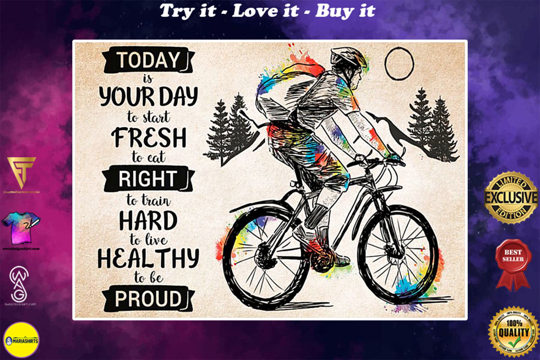 cycling today is your day to live heathy to be proud poster