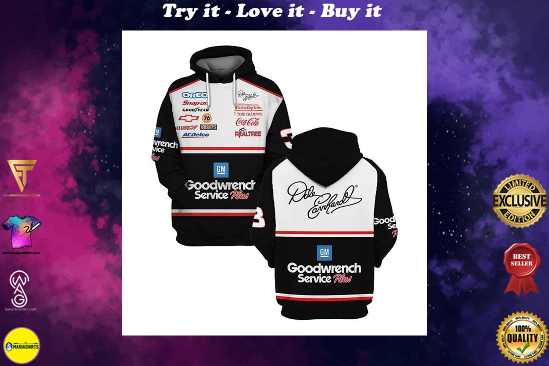 dale earnhardt signature goodwrench service plus full over printed shirt