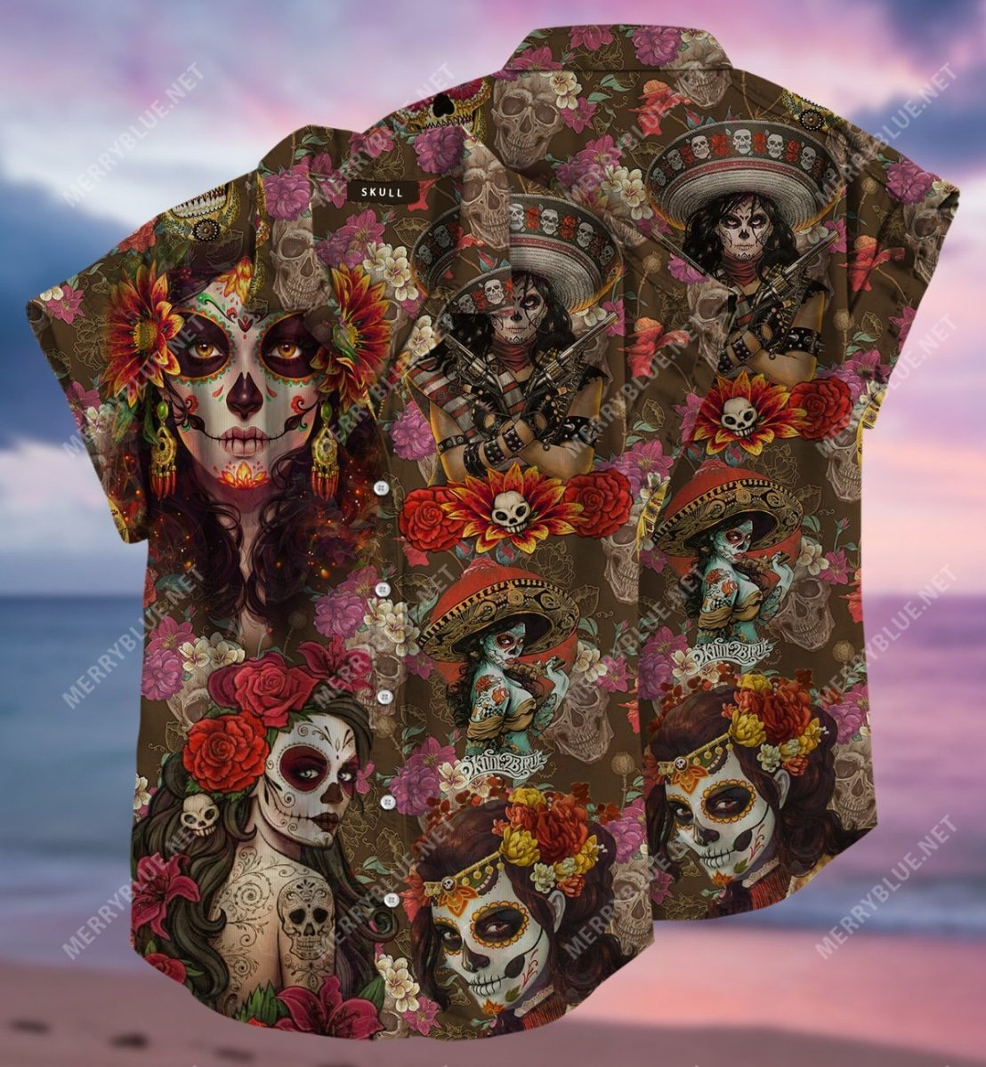 day of the dead sugar skull all over printed hawaiian shirt 2