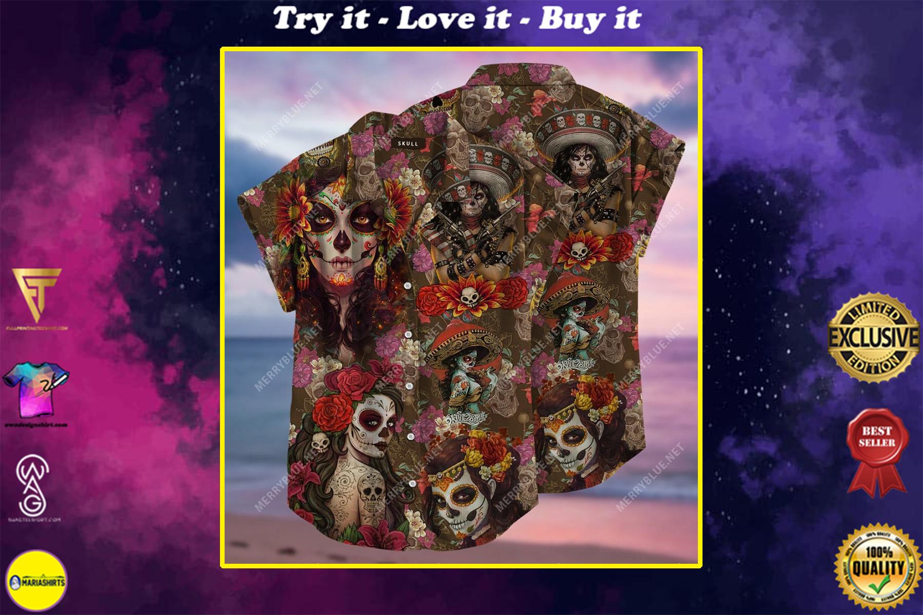 day of the dead sugar skull all over printed hawaiian shirt