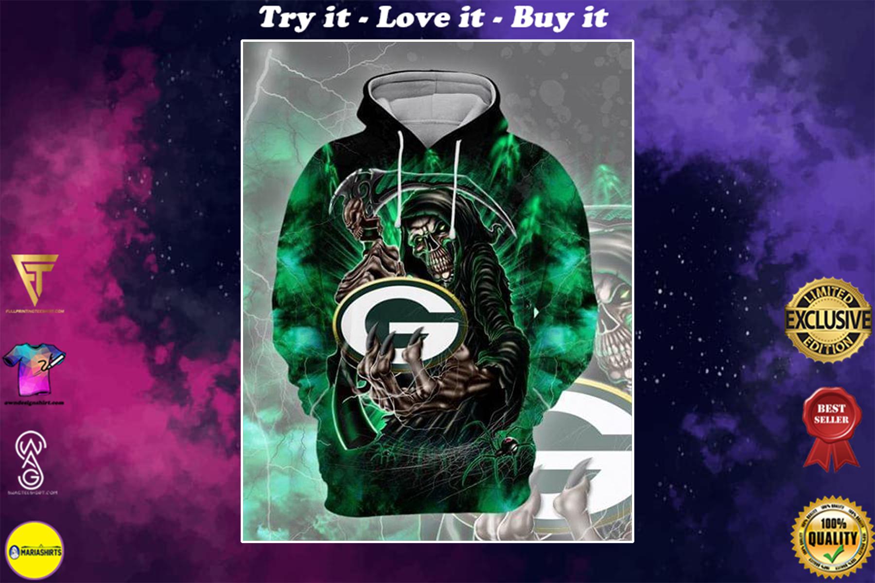 death skull green bay packers football team full over printed shirt