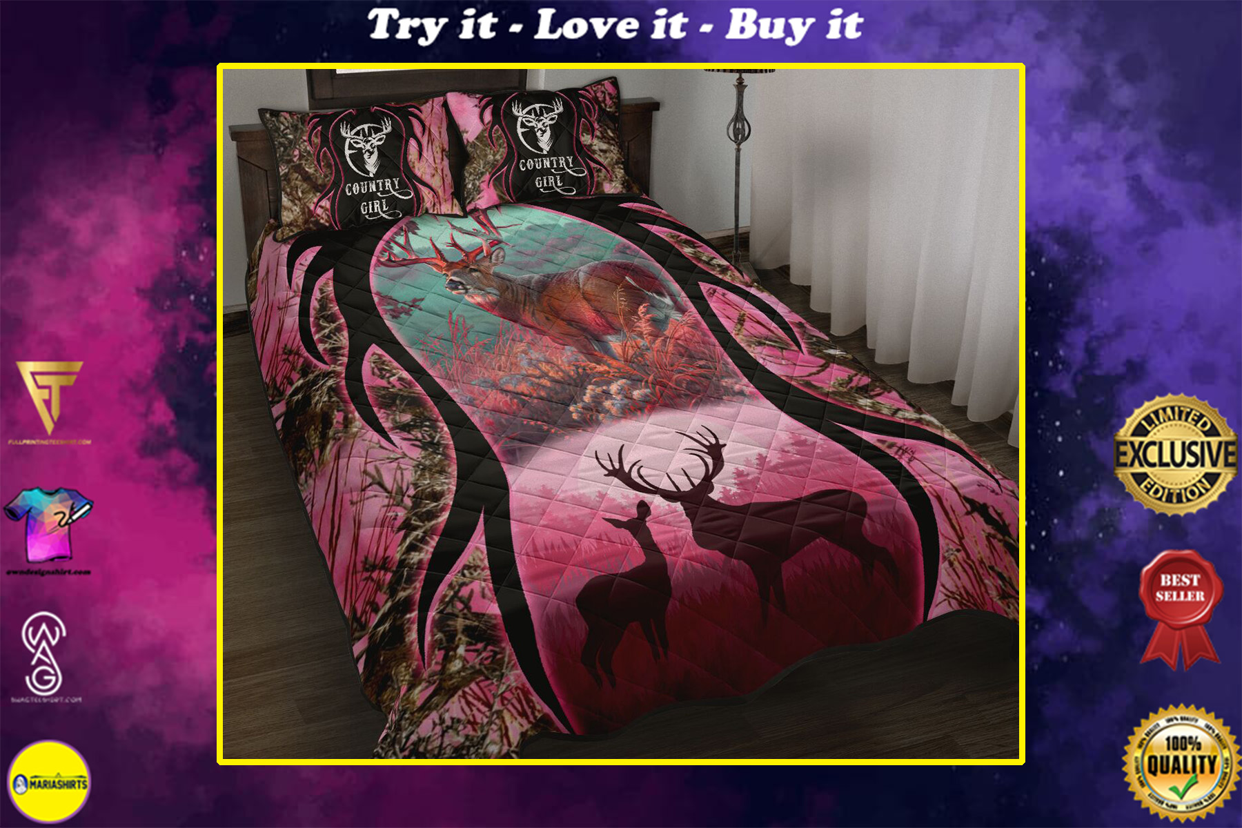 deer hunter love hunting country girl full printing bedding set