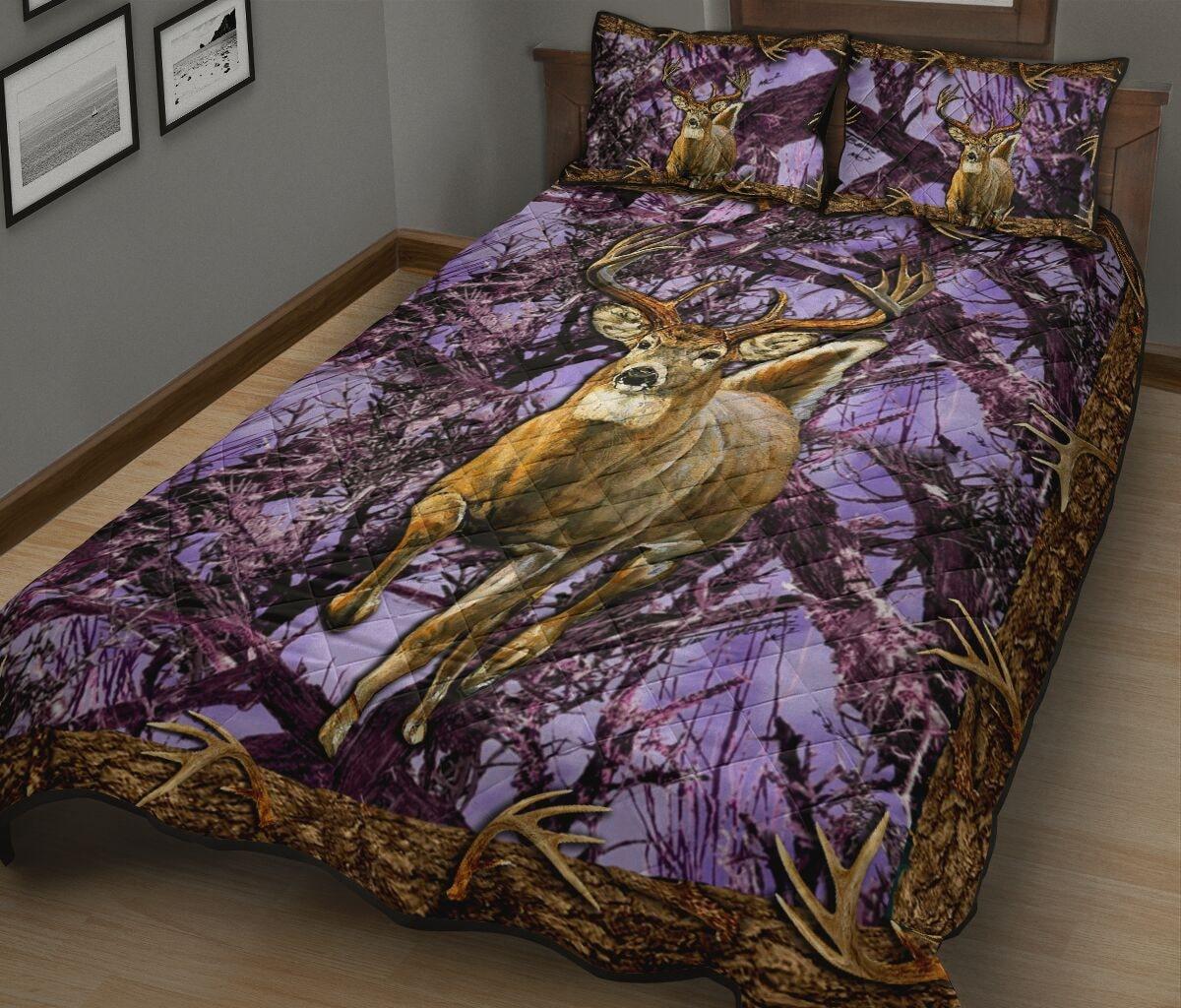 deer hunter love hunting purple full printing bedding set 2