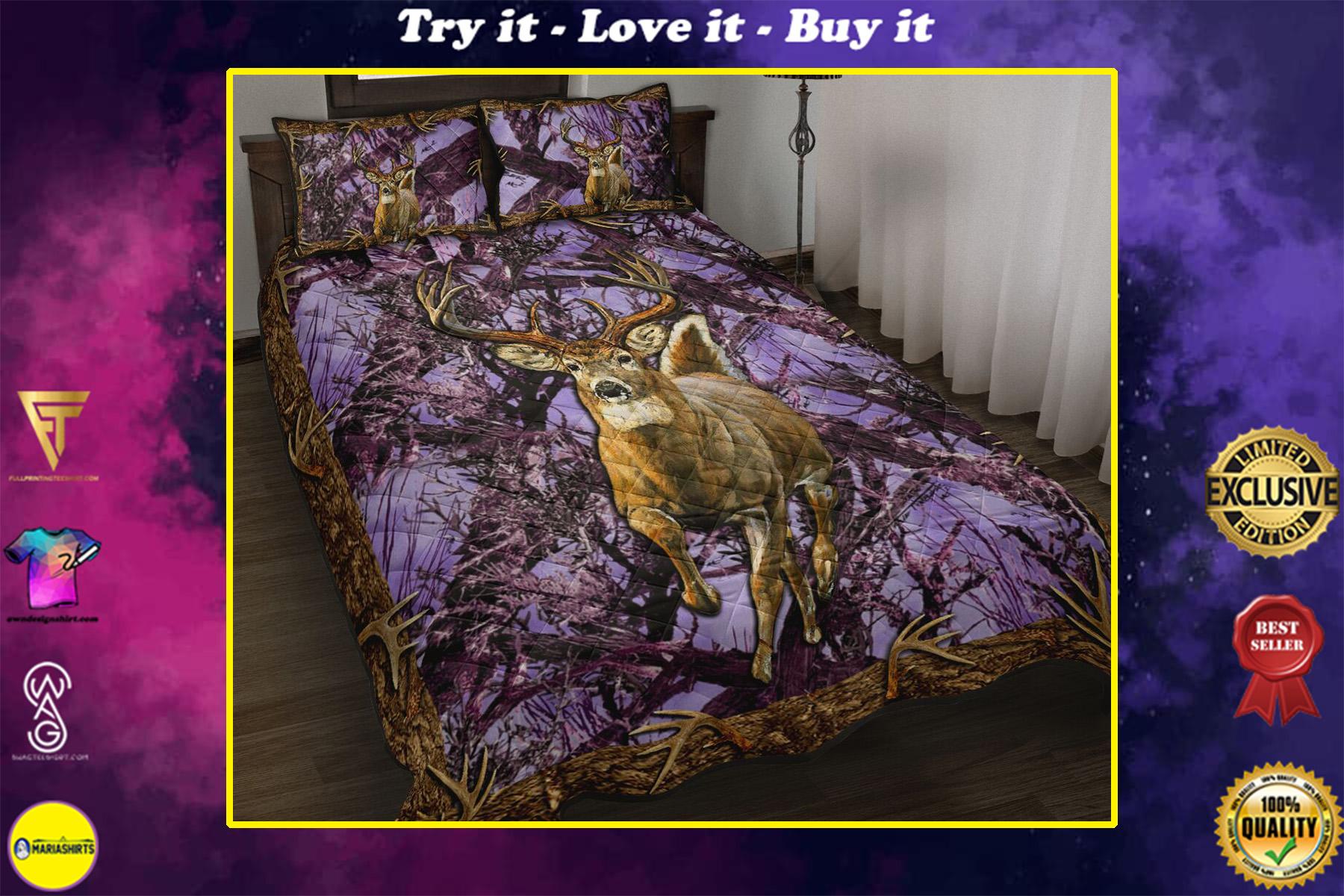 deer hunter love hunting purple full printing bedding set