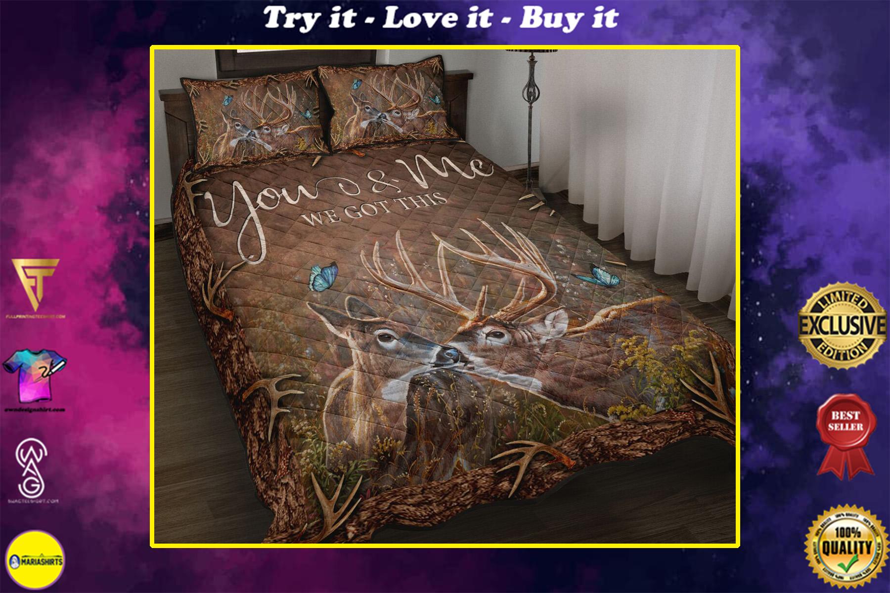 deer hunter you and me we got this full printing bedding set