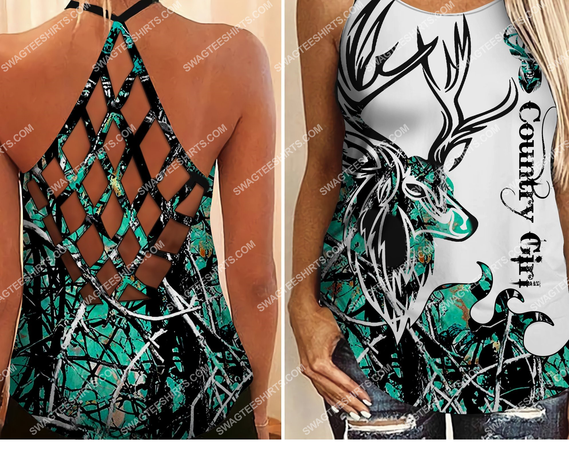 deer hunting country girl all over printed strappy back tank top 2