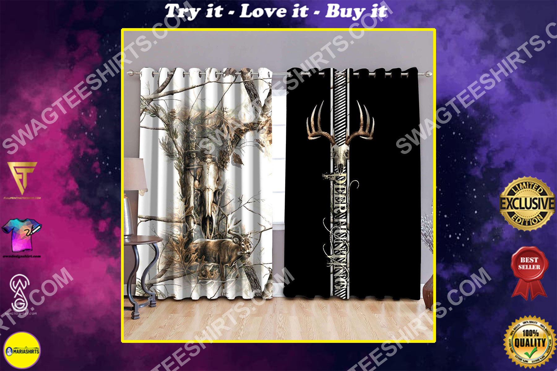 deer hunting love hunter all over printed window curtains