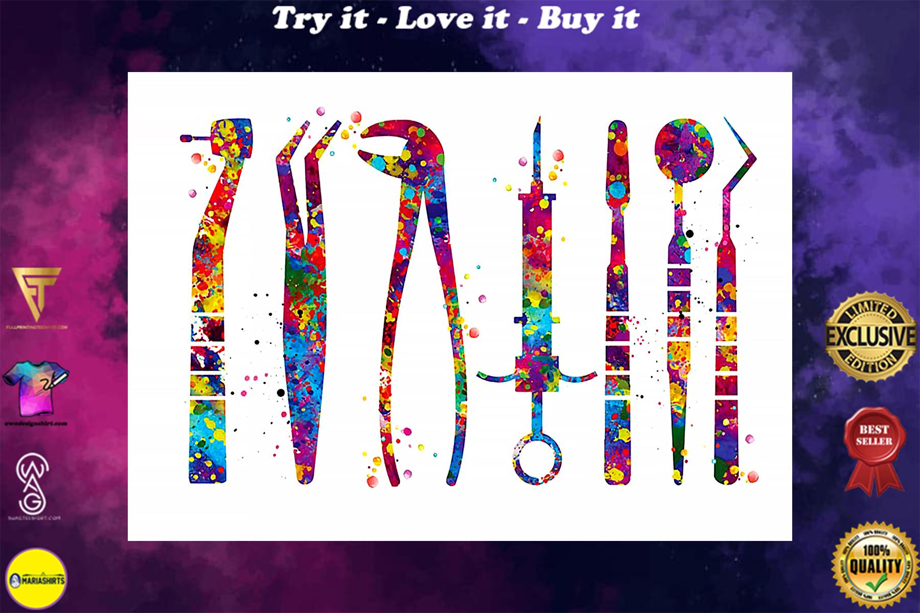 dentist tools watercolor vintage poster