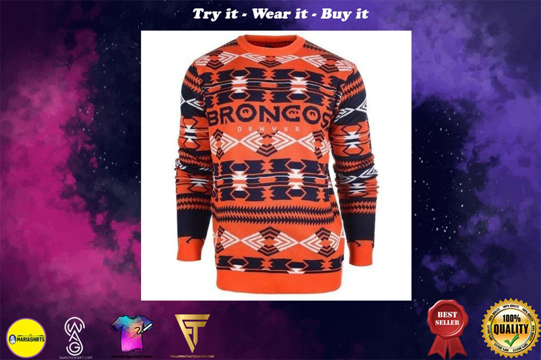 denver broncos aztec print ugly christmas sweater
