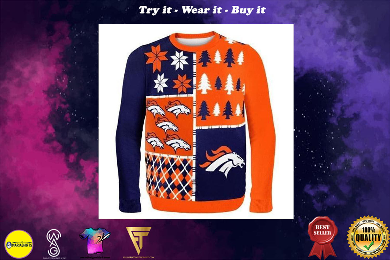 denver broncos busy block ugly christmas sweater