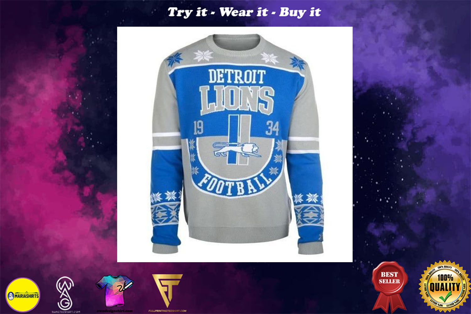 detroit lions football ugly christmas sweater