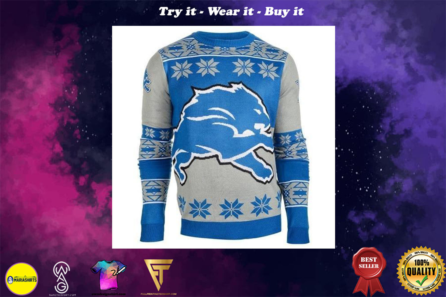 detroit lions national football league ugly christmas sweater