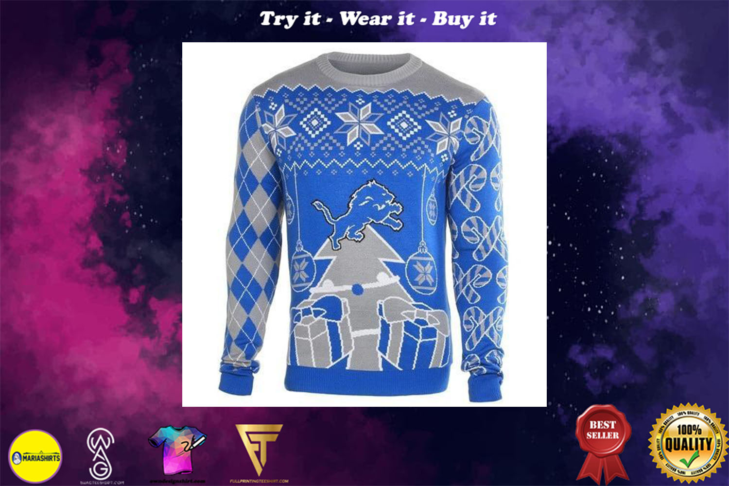 detroit lions ugly christmas sweater