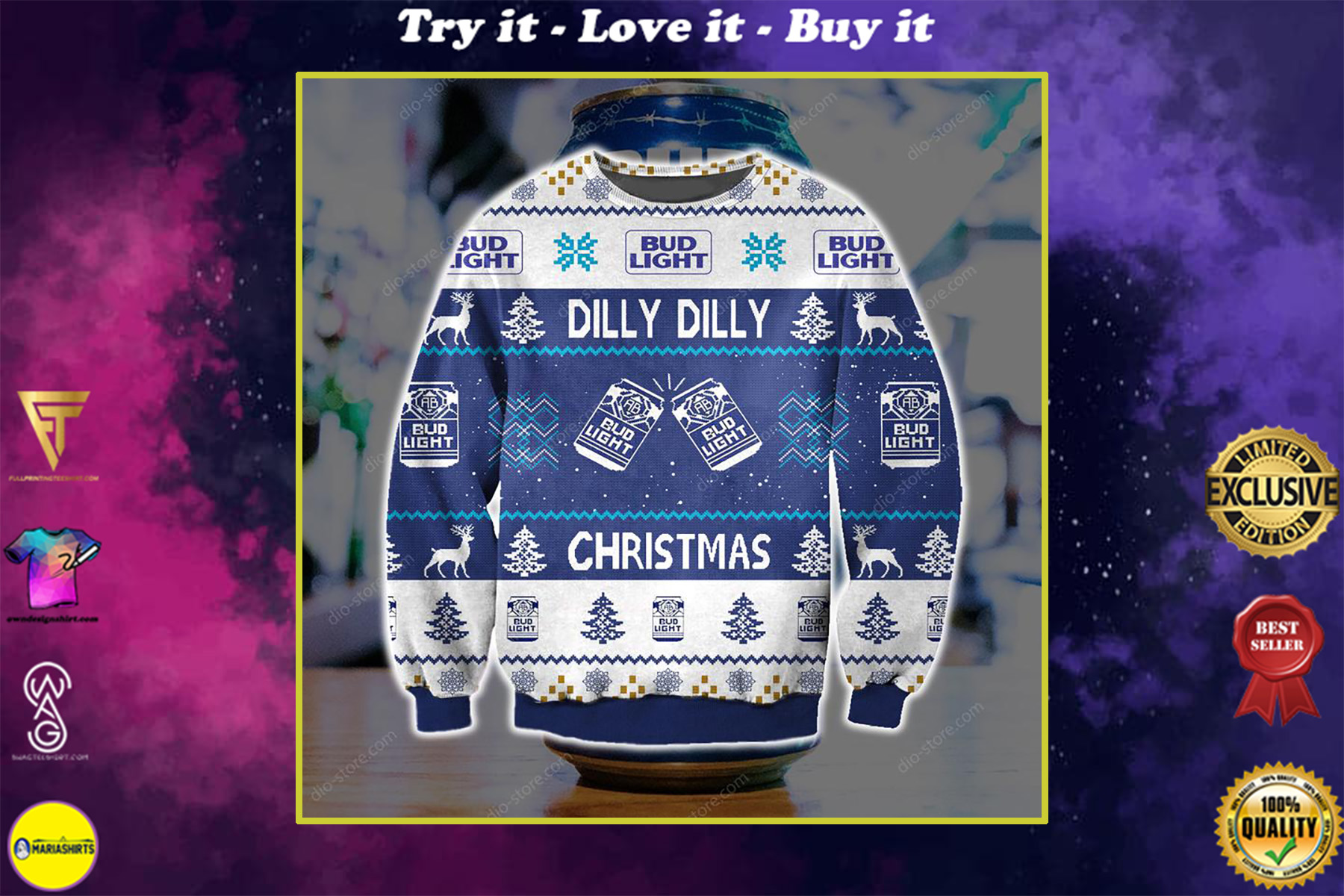 dilly dilly bud light full printing ugly christmas sweater