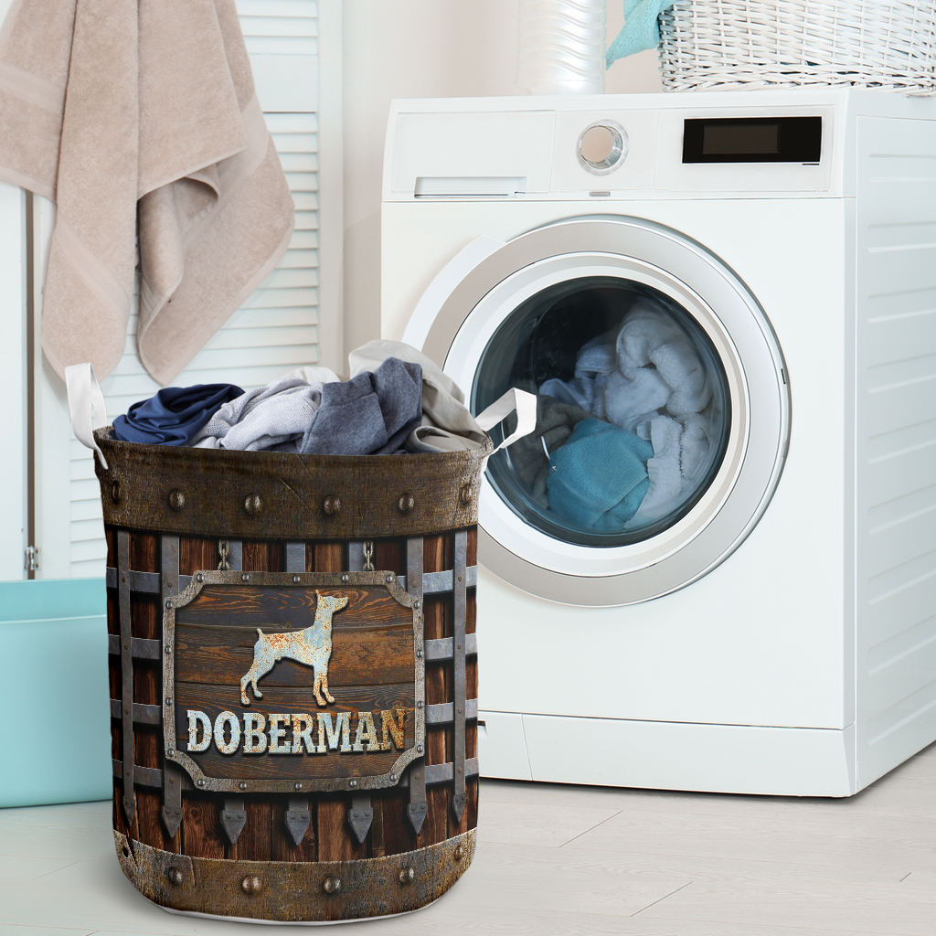 doberman dog lover all over print laundry basket 2