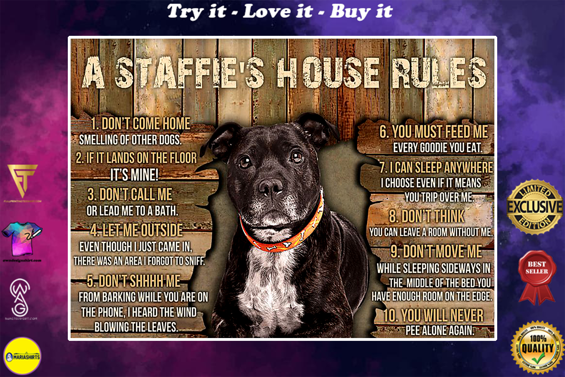 dog lover a staffies house rules poster