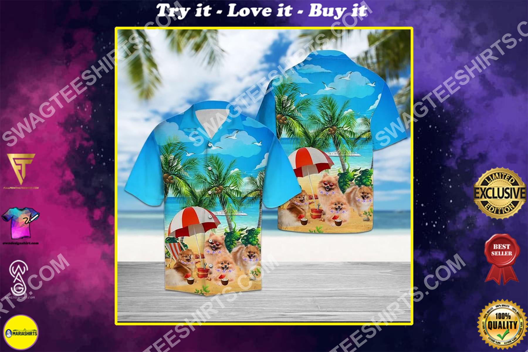 dog pomeranian all over printed hawaiian shirt