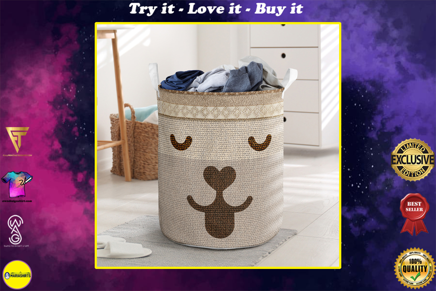 dog woven all over printed laundry basket