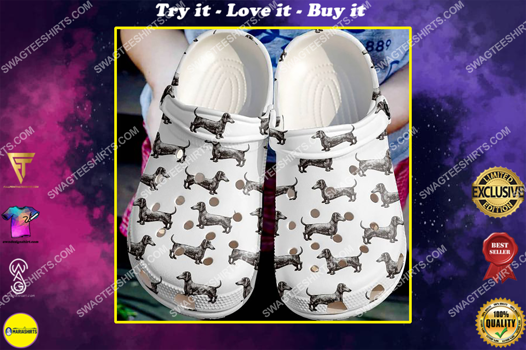 dogs lover dachshund pattern all over printed crocs