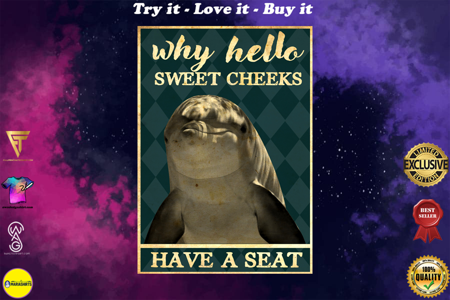 dolphin why hello sweet cheeks have a seat vintage poster