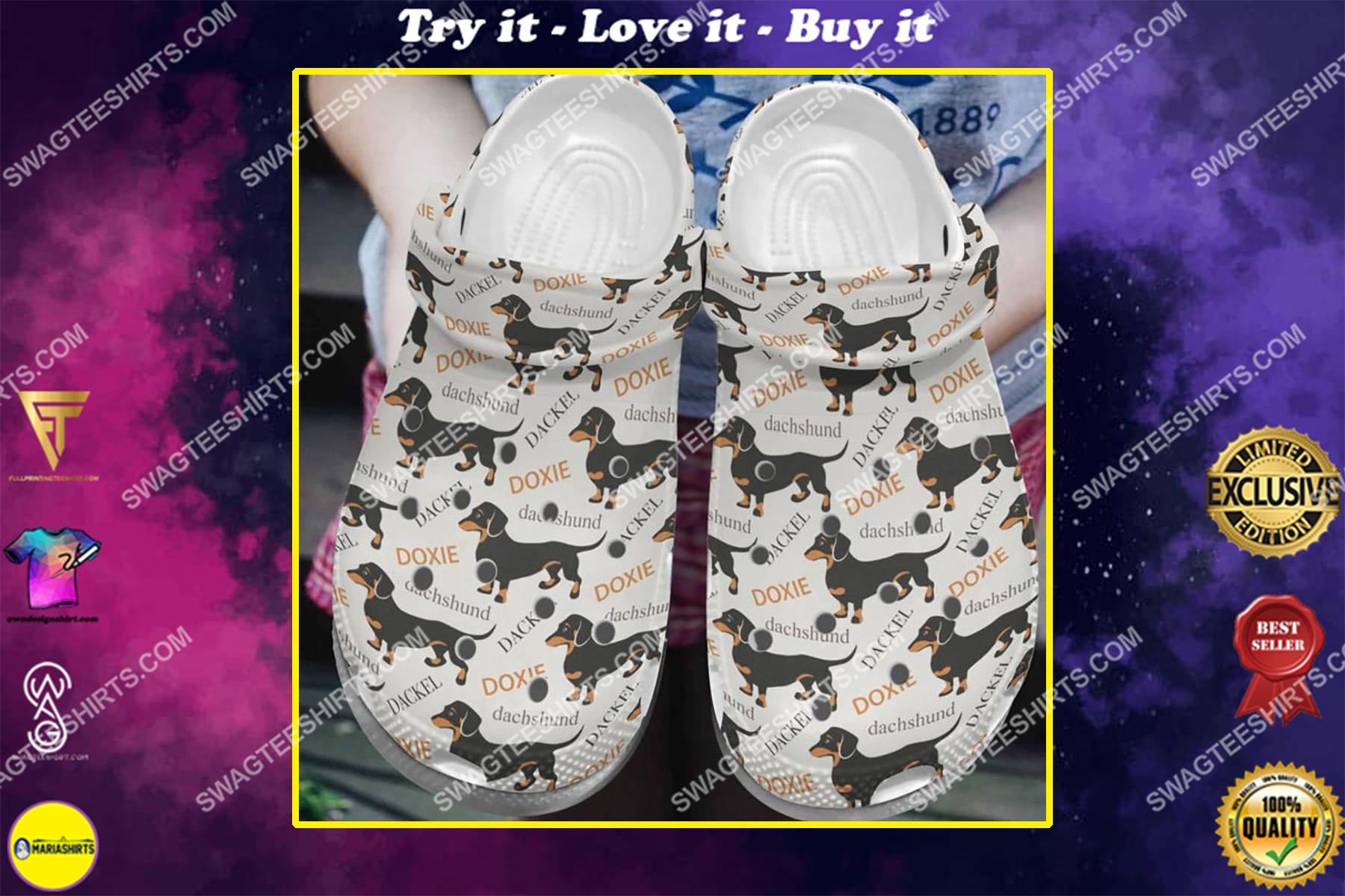 doxie dachshund pattern all over printed crocs crocband clog