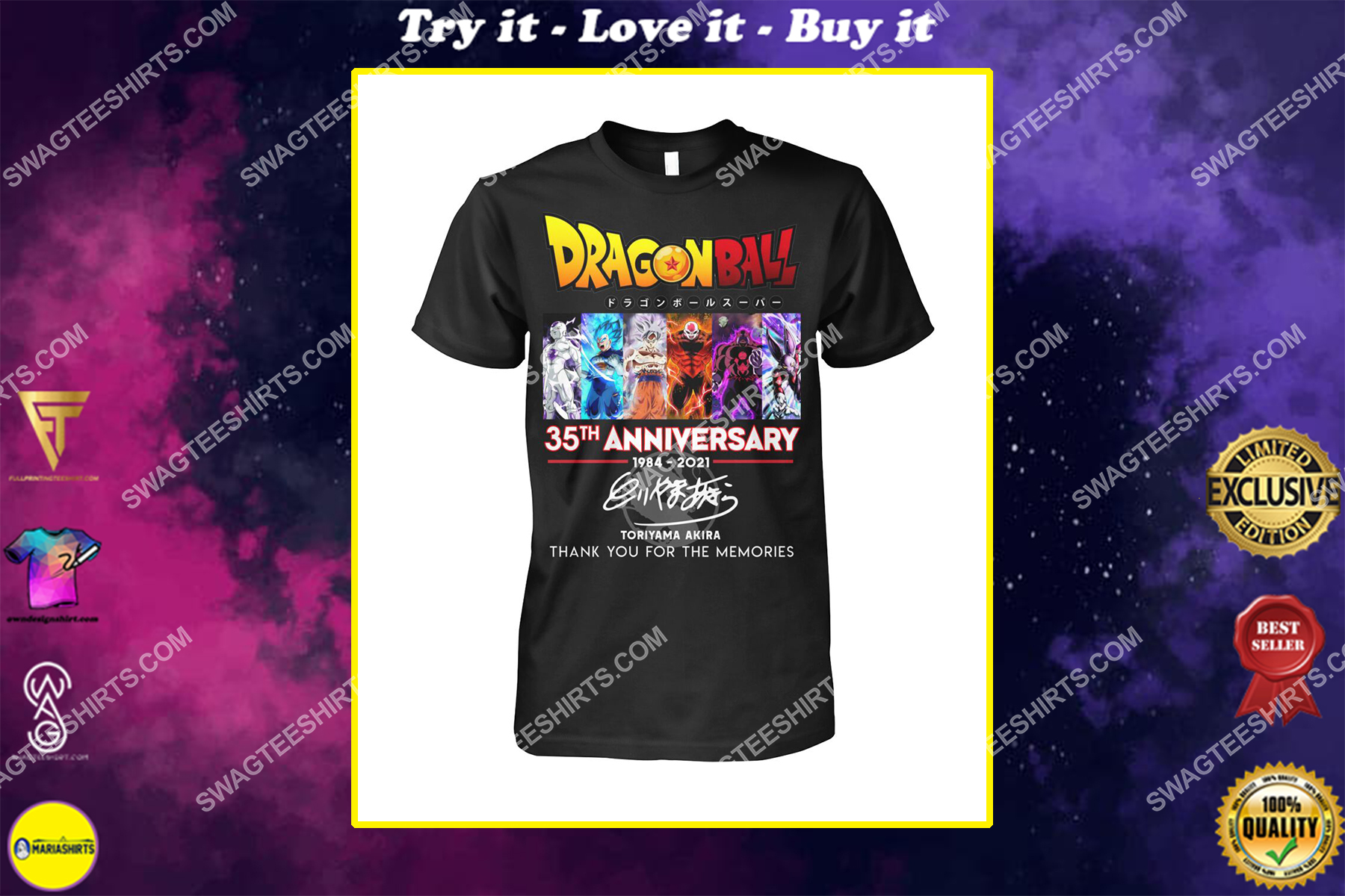 dragon ball z 35th anniversary thank you for memories signatures shirt