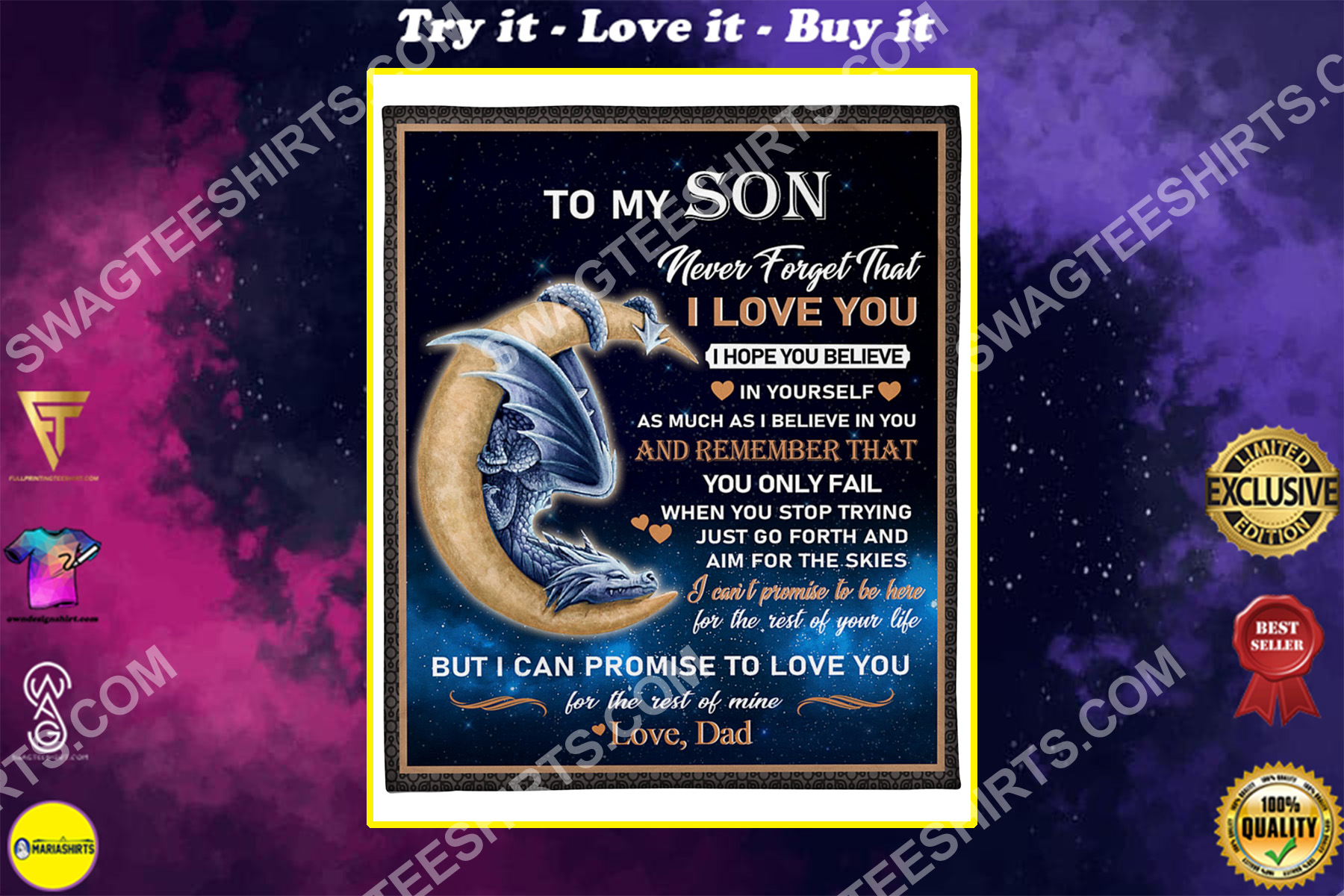 dragon to my son never forget that i love you your dad blanket