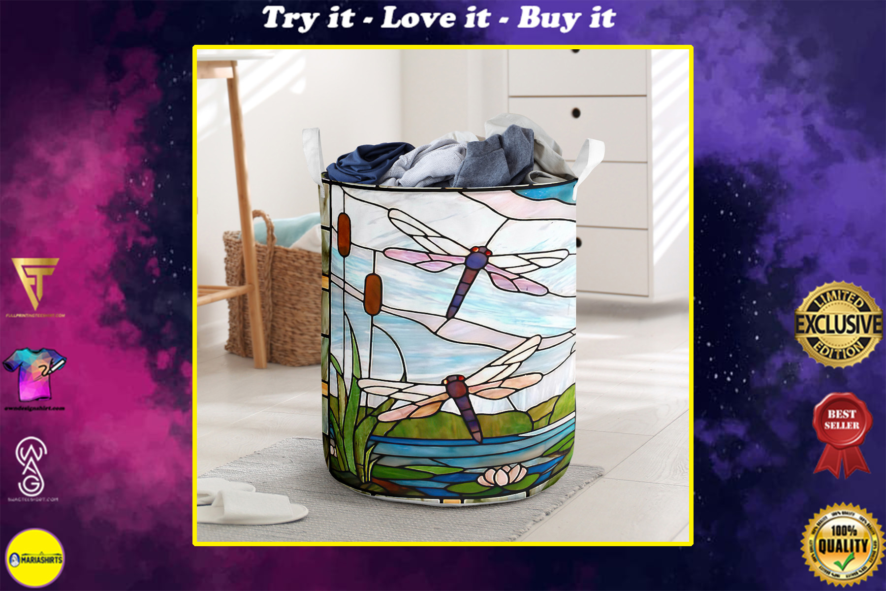 dragonfly all over printed laundry basket