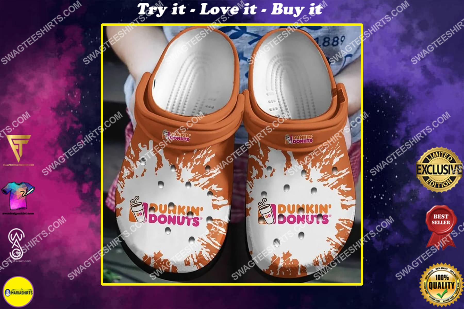 dunkin' donuts all over printed crocs crocband clog