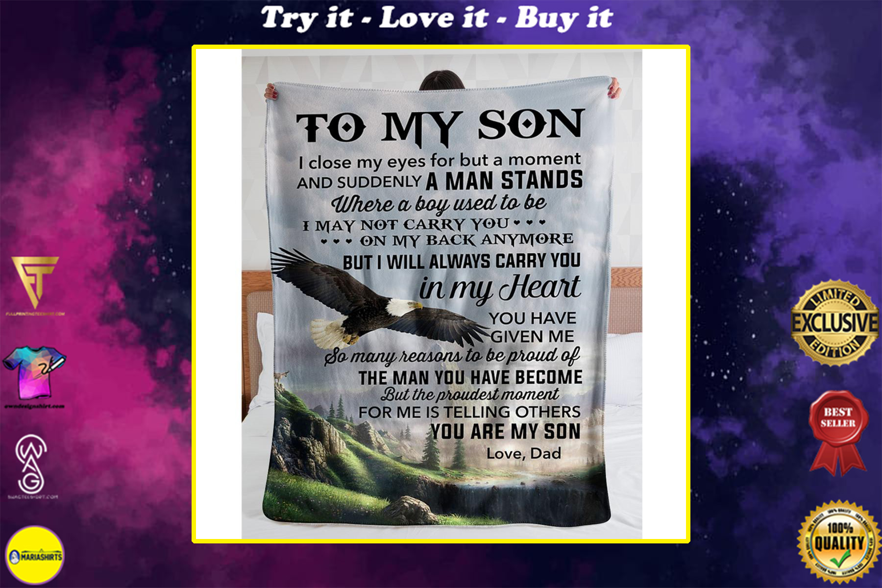 eagle to my son i will always carry you in my heart you are my son love dad blanket