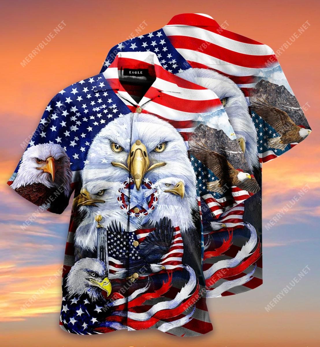 eagles patriotic american flag all over printed hawaiian shirt 3