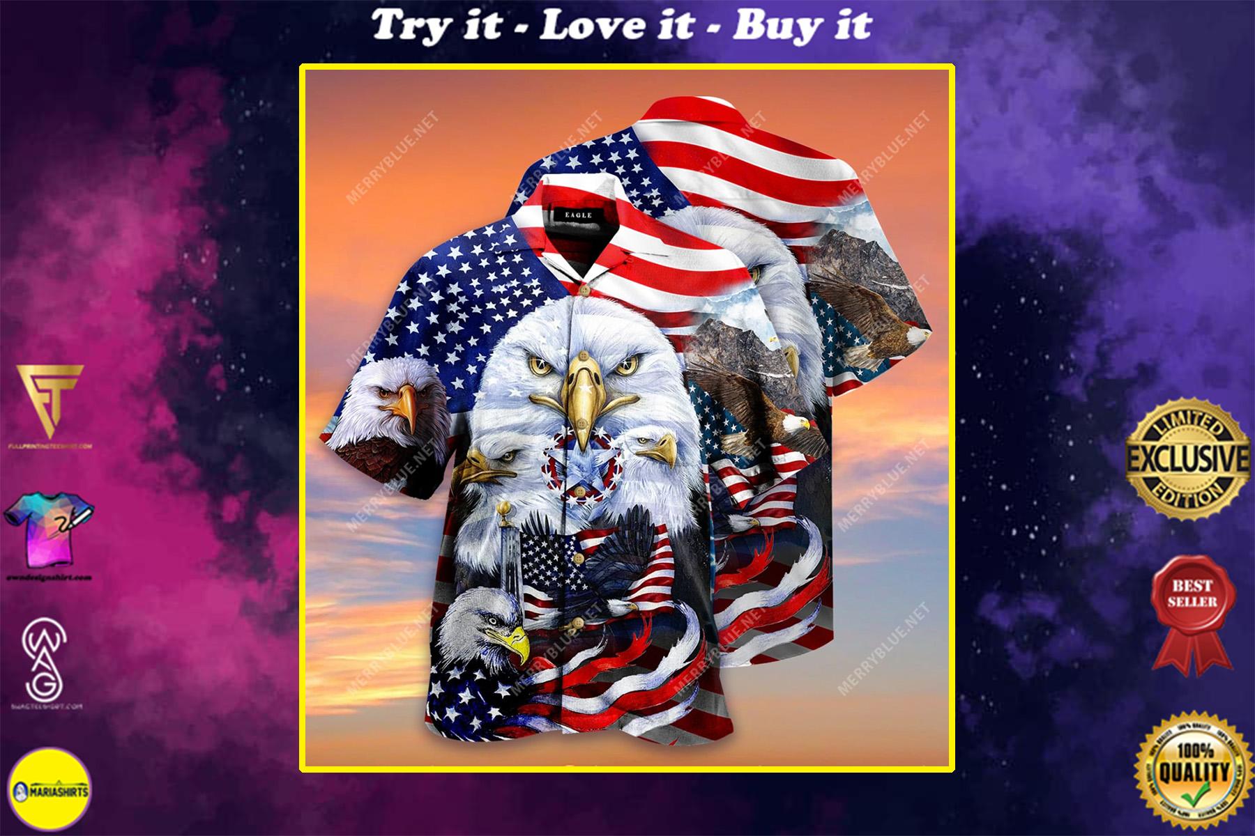 eagles patriotic american flag all over printed hawaiian shirt