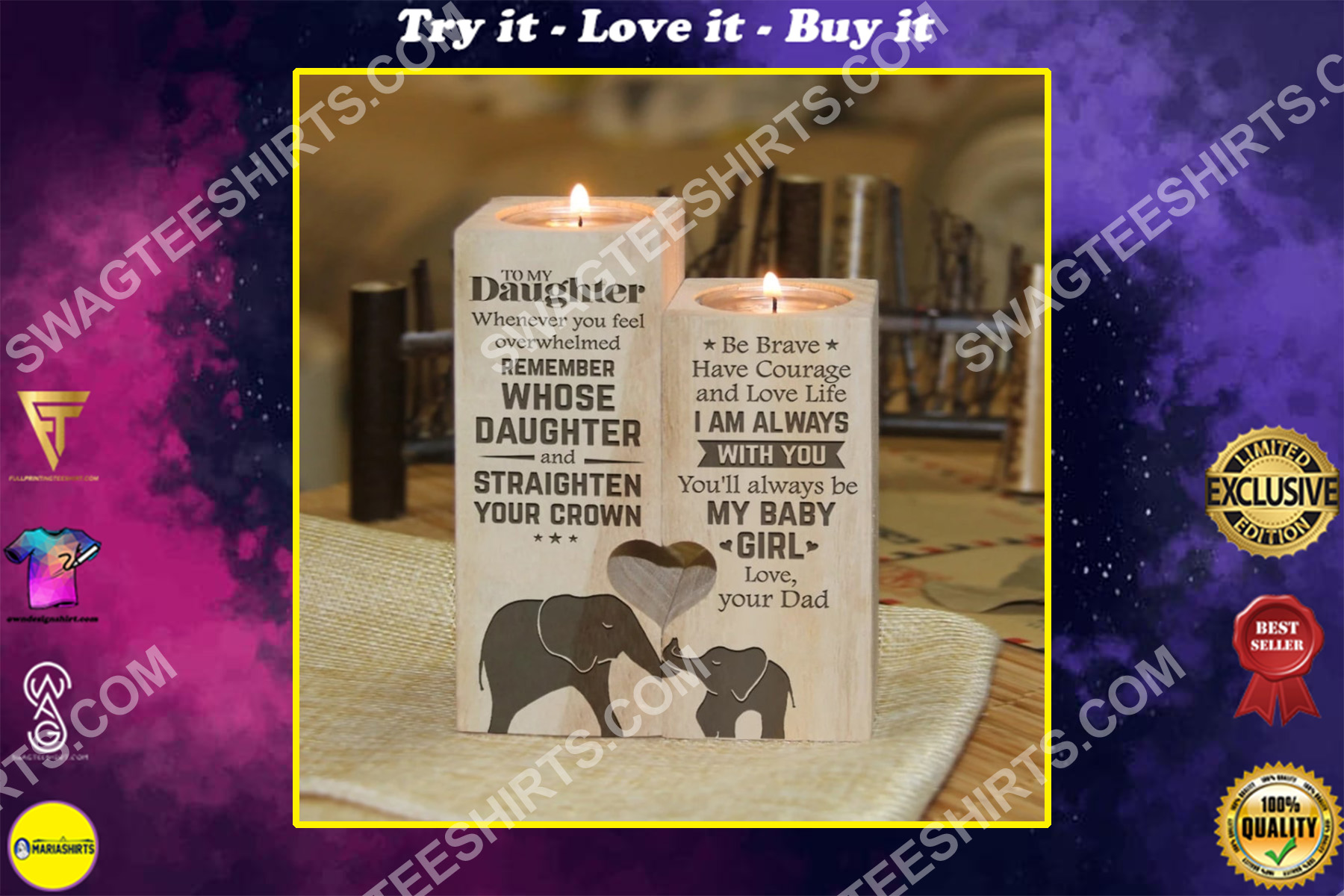 elephant to my daughter you will always be my baby girl love mom candle holder