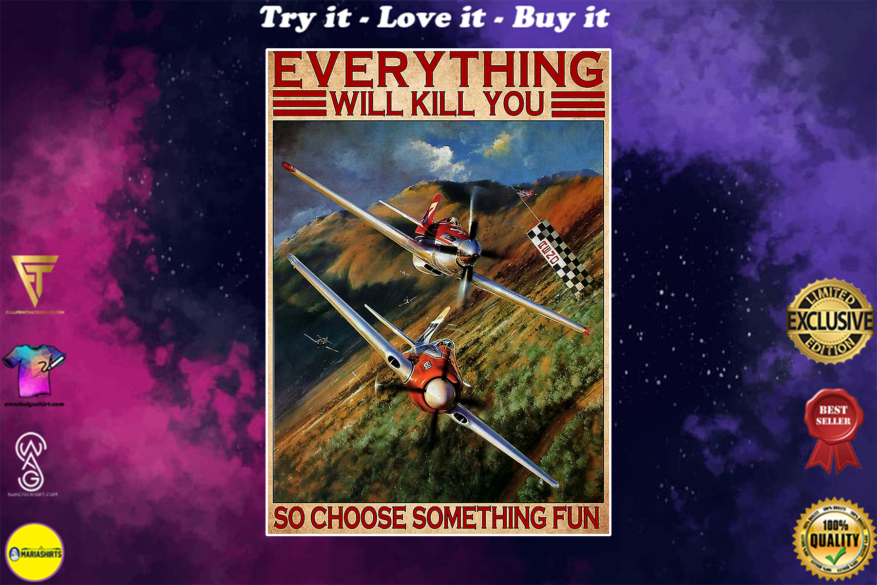everything will kill you so choose something fun air race vintage poster